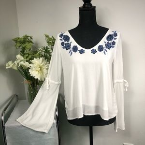 A&F Hollister White Floral Trumpet Sleeve Top
